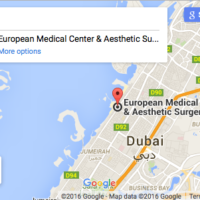 Image of Google Maps location of European Medical Center & Aesthetic Surgery on Jumeirah Beach Road Dubai